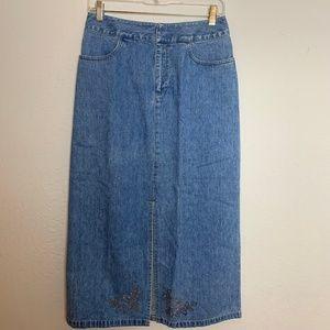 Vintage Lizwear Sz 6 Long Embellished Denim Skirt
